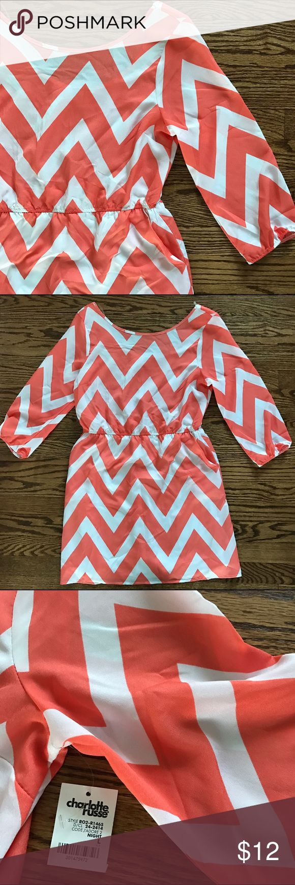 orange chevron dress orange and white chevron dress | lightweight material | bottom half is lined | pockets | back scoopneck detail | cinched waist | 3/4 sleeves | NWT | Poshmark suggested user Charlotte Russe Dresses Long Sleeve