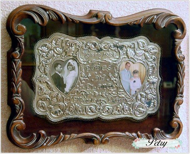 Cuadro estaño. Bodas de plata. www.petry.es