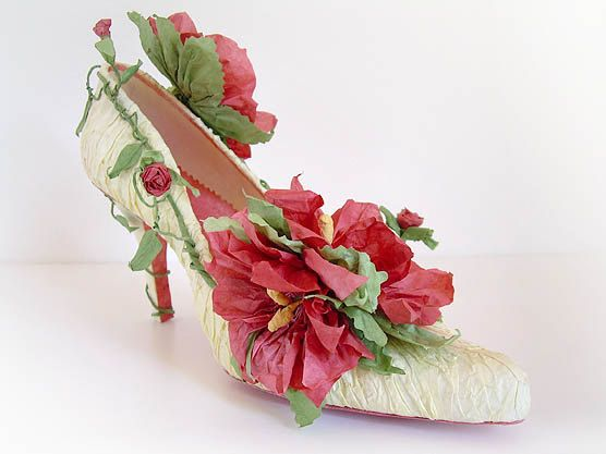 Rose Garden - Handmade Papershoe - Shoe art - Paper sculpture - Design shoes- Free Shipping