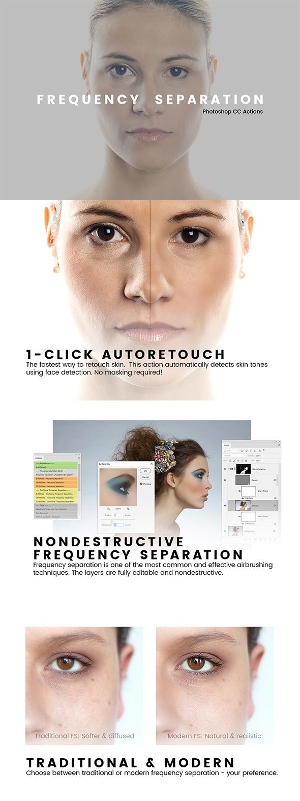 Frequency Separation Actions — Photoshop ATN #skin #retouching • Available here → https://graphicriver.net/item/frequency-separation-actions/21003149?ref=pxcr