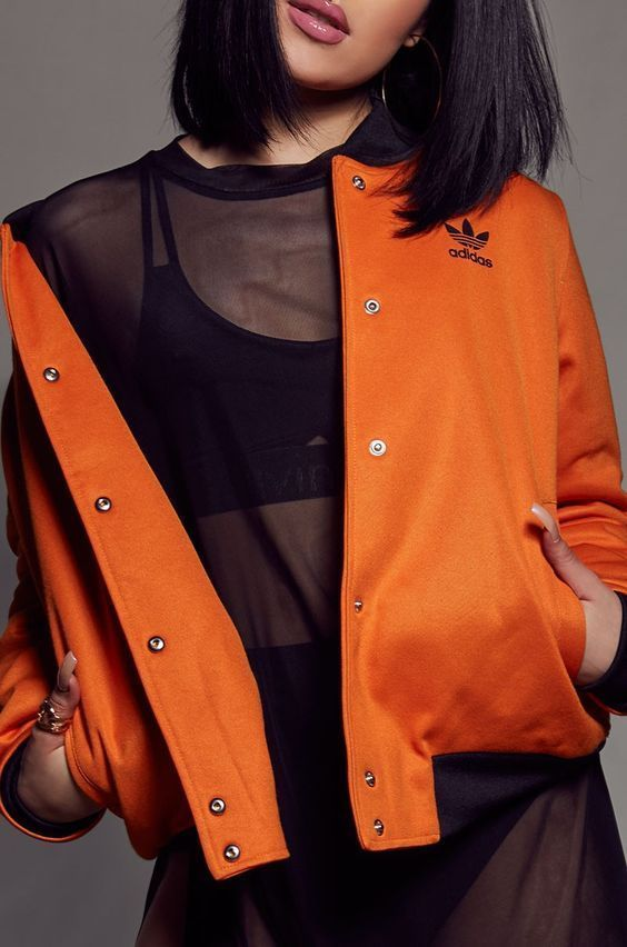 Brooklyn Heights Bomber Jacket. This women's retro orange bomber puts a sporty spin on an iconic jacket. This version of the classic swaps out nylon for thick doubleknit that's soft to the touch. The silhouette and collar echo original MA-1 style, while a bold Trefoil on the back nods to adidas. | eBay!