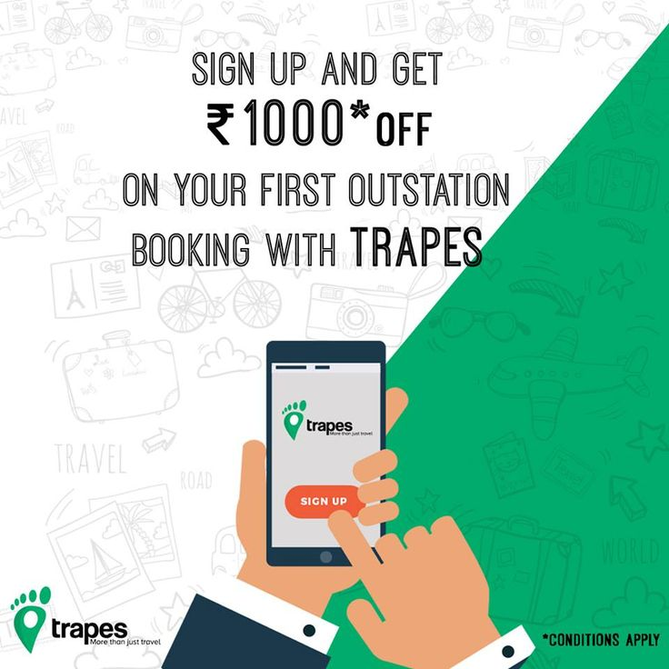 Weekend is here and we are all set to be at your service! Sign up and get Rs.1000* off on your first outstation booking with Trapes.