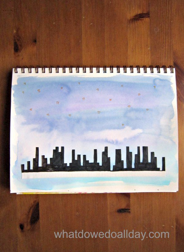 Math art for Pi Day! Make a skyline out of pi. So fun!