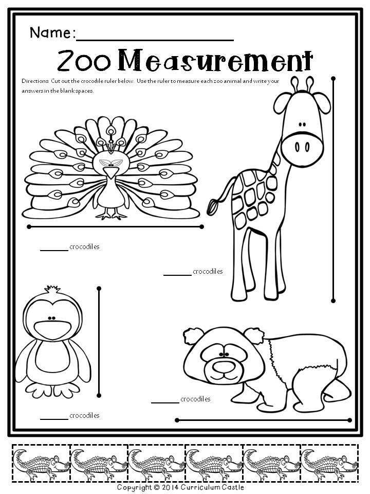 Zoo Sub Kit-Math and Literacy Activities: Zoo Measurement! $
