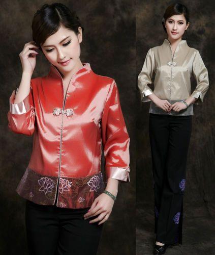 Orange Gray Chinese Silk/Satin Embroider Women's Evening Jacket/Coat 6-14