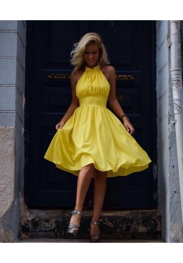 M3180 Sarı Boyundan Askılı Elbise