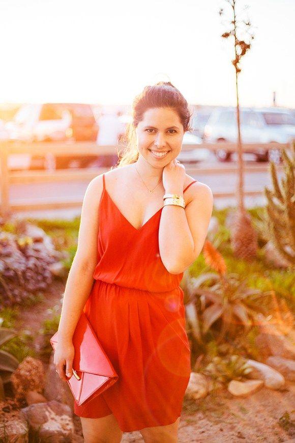 Red silk dress by Amanda Uprichard