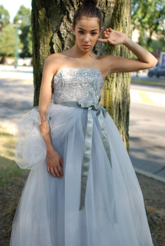 Wedding Gown Grey  wedding dress  Zoe Beaded Lace by PantoraBridal, $1270.00