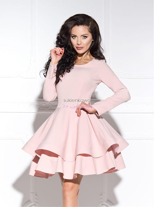Sukienkowo.com - LUNA-sukienkapodwójnierozkloszowanazdługimrękawemróżówa
