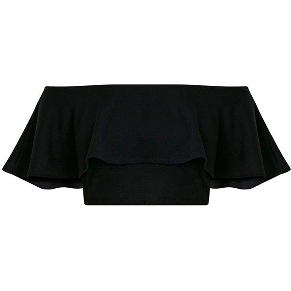 Chanelle Black Bardot Frill Crop Top (95 ILS) ❤ liked on Polyvore featuring tops, frilly tops, cut-out crop tops, flutter-sleeve top, flounce tops and crop top