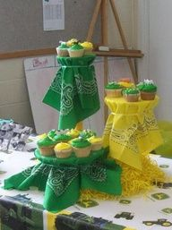 green, yellow & PINK bandanas for decorations and table coverings
