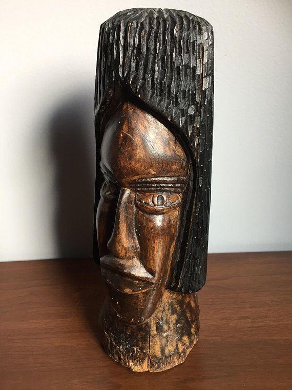 Jamaica Rasta Man Wood Sculpture Vintage Wood Carving African American Black Man Bust Hardwood African Folk A Wood Sculpture Vintage Wood Handmade Coffee Table