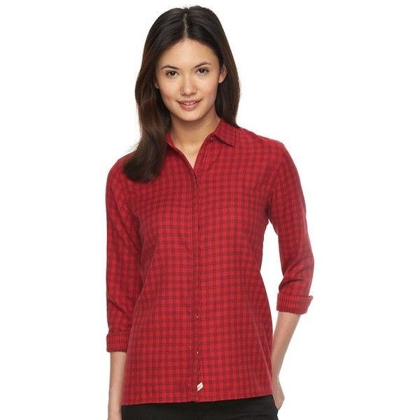 Women's Woolrich Rose Hip Dobby Dot Checkered Shirt ($28) ❤ liked on Polyvore featuring tops, dark red, rose print top, long sleeve plaid shirt, long-sleeve shirt, cotton shirts and checkered shirt