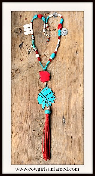 NEW GYPSY SOUL NECKLACE! Patina Metal Indian Chief Red Tassel Pendant Turquoise & Charm Beaded Necklace  #handmade #IndianCHief #Indian #beaded #tassel #fringe #cowgirl #boho #western #southwestern #turquoise #patina #charm #horse #Silver #wild #free #arrow #pendant #beautiful #leather #boutique #fashion #wholesale