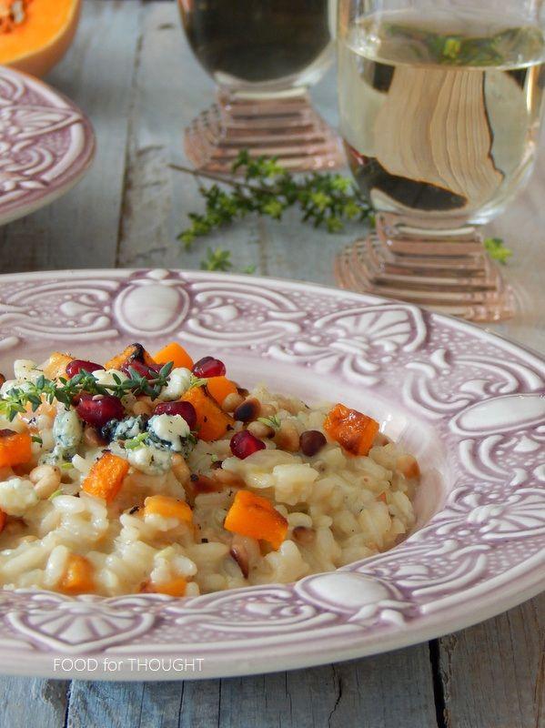 Food for thought: Ριζότο με κολοκύθα, καβουρδισμένο κουκουνάρι και μπλε τυρί