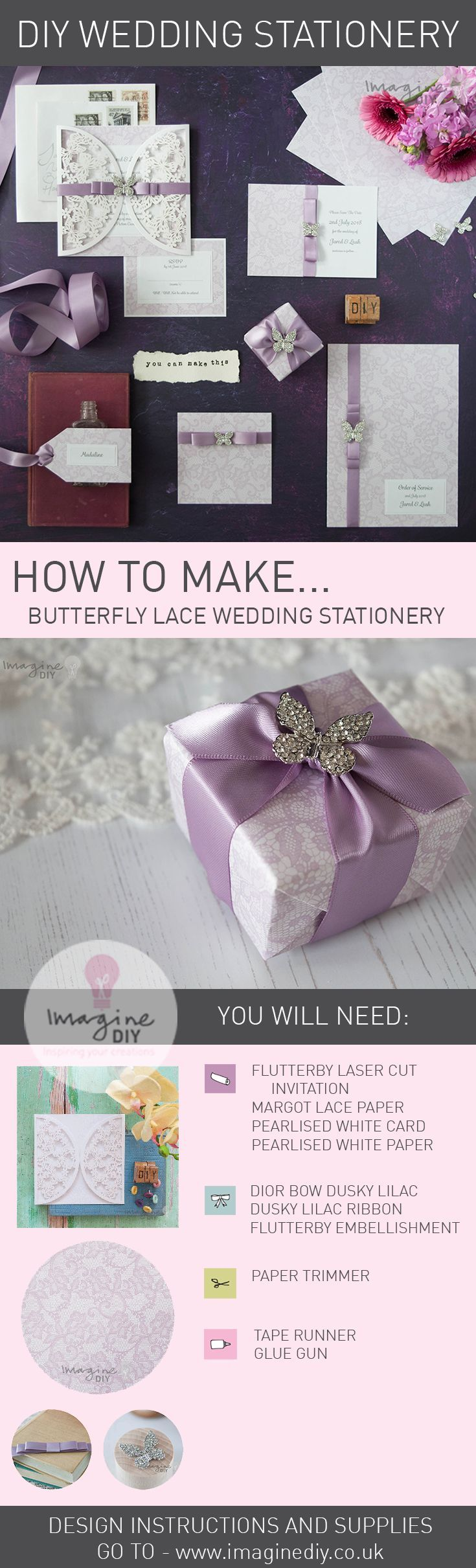 How to make pretty wedding stationery with butterflies and lace.  Dusky lilac wedding stationery.  DIY wedding stationery ideas.  Design guide and products available from Imagine DIY  #DIYweddingstationery #DIYweddinginvitations #DIYweddinginvites #purplewedding #lilacwedding #butterlywedding #laceweddingstationery #imaginediy #diyweddingideas #diywedding #summerwedding