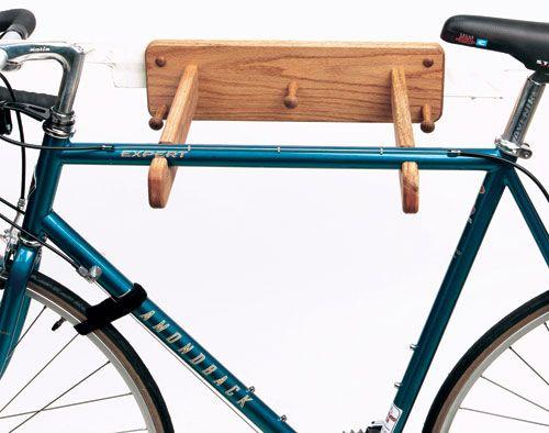 Single Bike Rack Oak Wall Mount