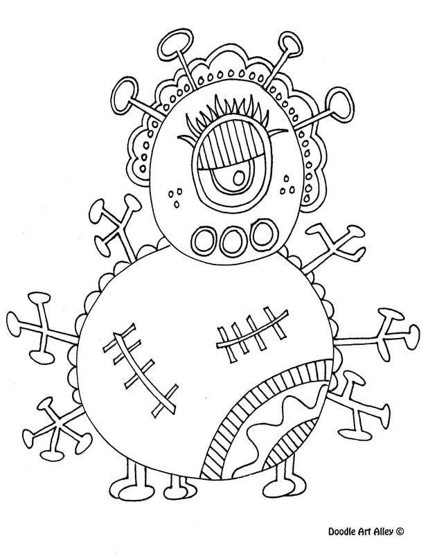 free printable monster coloring pages from doodle art alley