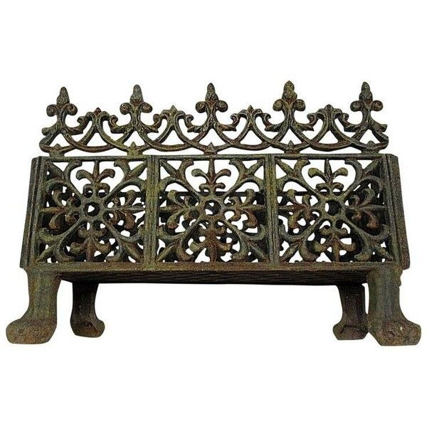 Victorian Cast Iron Fireplace Grate ($585) ❤ liked on Polyvore featuring home, home decor, fireplace accessories, fireplace grates, victorian finials, fleur de lis finial, cast iron finials, cast iron planters and cast iron fire basket
