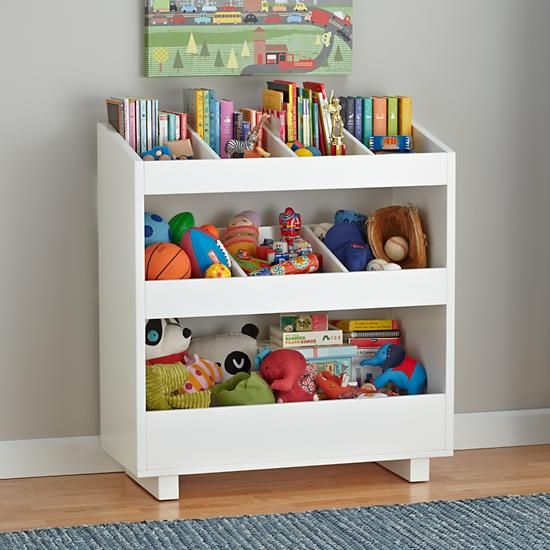 Land of Nod kids storage. Hack a bookcase or existing toy box? I love the dividers on the top shelves for keeping books separated, but not for $300