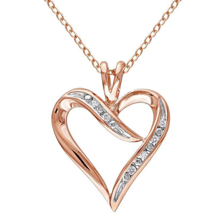 Allura 0.05 CT. T.W. Diamond Heart Pendant Necklace in