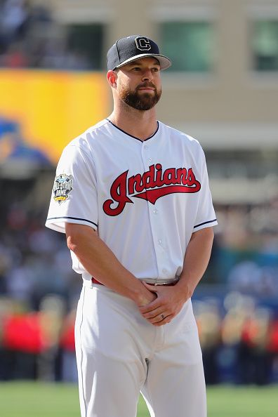 #Allstar2016 Corey Kluber of the Cleveland Indians looks on prior to the 87th Annual MLB AllStar Game at PETCO Park on July 12 2016 in San Diego California