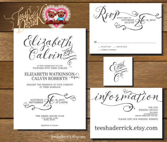 Custom Printable Wedding Invitation Suite w0259 by TeeshaDerrick