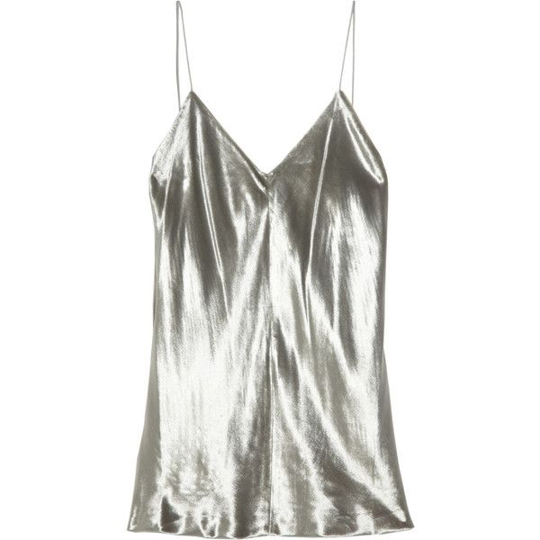 T by Alexander Wang Panne-velvet camisole (£84) ❤ liked on Polyvore featuring tops, tank tops, shirts, tanks, silver, cami tank tops, spaghetti strap tank tops, fitted tank tops, white spaghetti strap tank top and cami tank