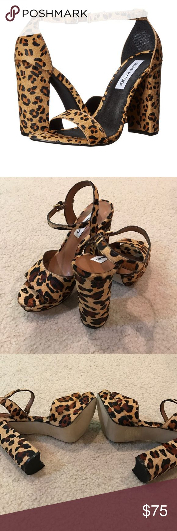 """Brand new sexy Steve Madden leopard heels Brand new sexy Steve Madden leopard heels in size 7.5. New without tags. I bought these thinking I would one day wear it but honestly with 2 toddlers I never wear any heels anymore! 4"""" high heel and 1/4"""" platform height. No Trades or holds. Steve Madden Shoes Heels"""
