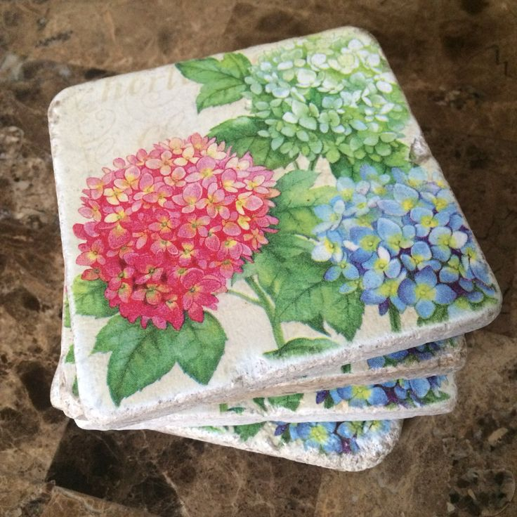 Flowers Tile Coasters Hydrangeas On Natural Stone Tiles
