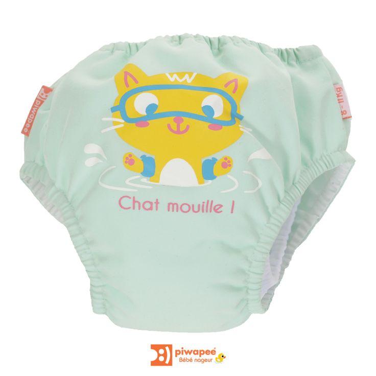 Maillot de bain couche piscine bébé nageur Piwapee chaton