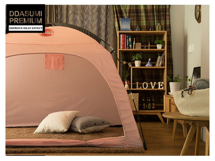 DDASUMI Warm Tent for Single Bed 2015 (Pink). Indoor Warm Tent - Cold air blocking, Keeping inside warm air, Saving Heating Cost. Set-up Size : Length 83 X Width 47 X Height 53 inches (Match with Single & Super Single Bed). Storage Size : Lengh 26 X Width 6 X Height 4 inches Weight : 4 Ibs. Material :Polyester Textile / Pole : Fiber glass, Component:Tent, Pole 2ea, Storage Bag. Easy to use, Laundry available.