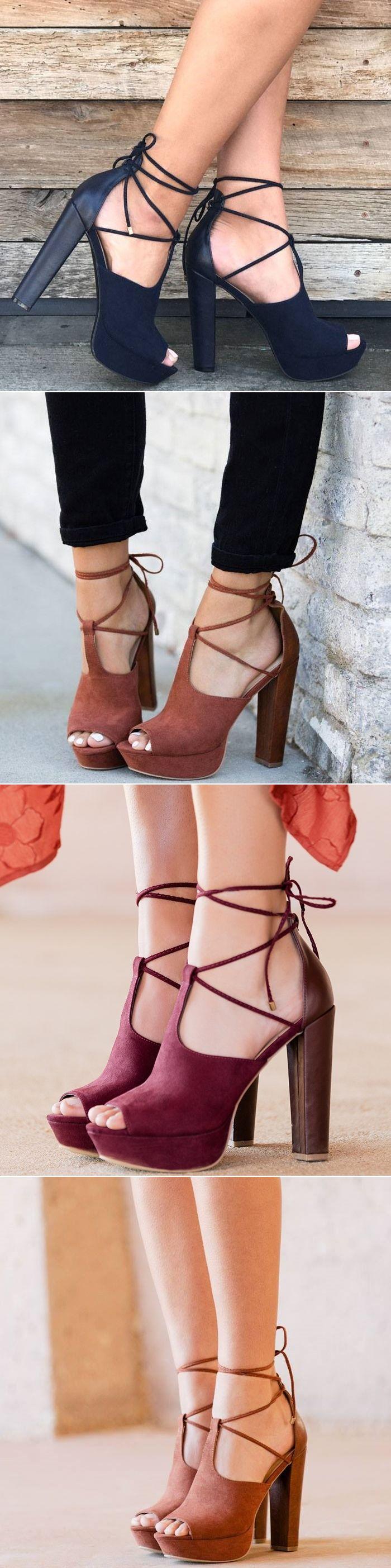 'Marlena' Lace-Up Chunky Heels
