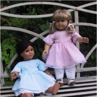 """Sense & Sensility Patterns has a line of modest clothing patterns for 18"""" soft bodied dolls like American Girl, Magic Attic or Beautiful Girlhood dolls. I might try some of these patterns one a creation of my own."""