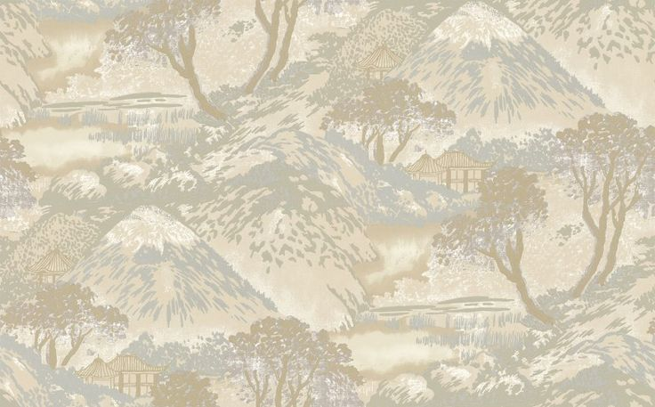 Edo Stone/ Bronze (BW45073/2) - G P & J Baker Wallpapers - An updated version of a print first launched in 1915, this design depicts the stunning view of Mount Fuji from the city of Edo. Shown here in the shimmering stone and bronze colourway. Other colourways available. This is a paste-the-wall product. Please request a sample for true colour match.