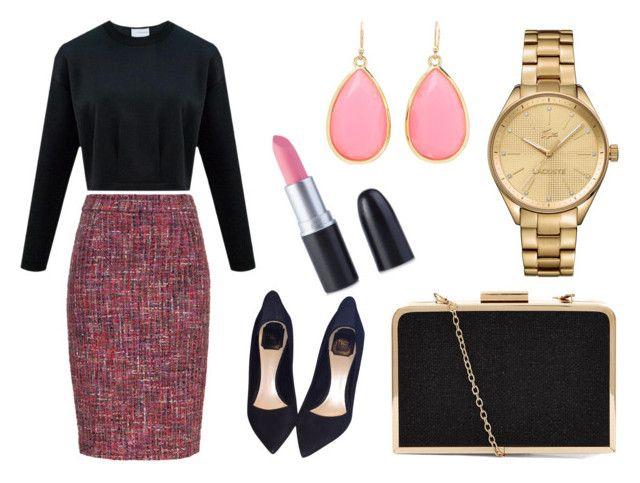 """róż elegancki"" by fashionandmore-blog on Polyvore featuring moda, ESCADA, Kate Spade, Lacoste i Christian Dior"
