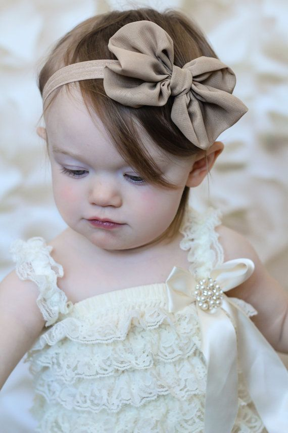 U CHOOSE COLOR Chiffon hair bow Headband Shabby Chic vintage fabric know bow baby headband on Etsy, $7.95
