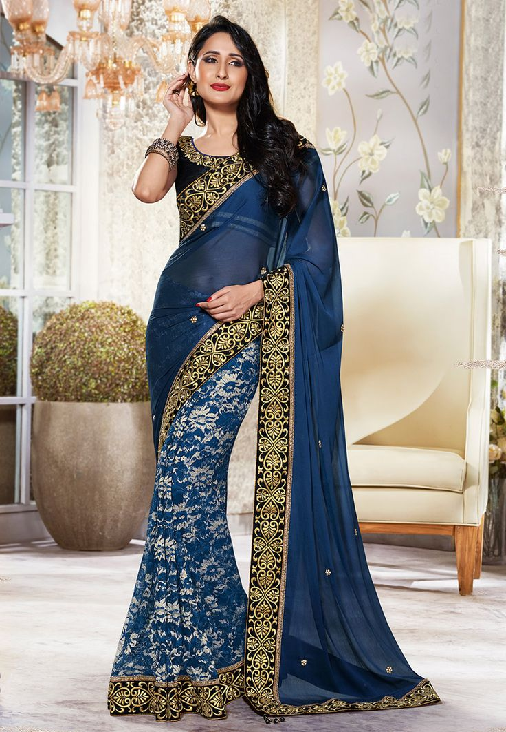 Dark Blue Faux Chiffon and Net Jacquard Saree with Blouse: SWS4609