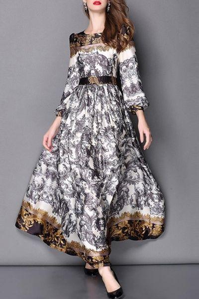 Abstract Printed Long Sleeve Dress