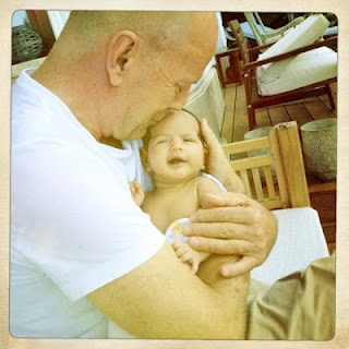 Bruce Willis and his new born baby in Budapest, 2013