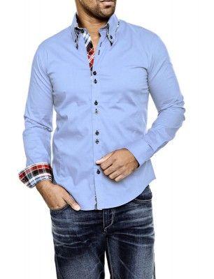 Camisa Carisma detalle cuello doble botón   light blue