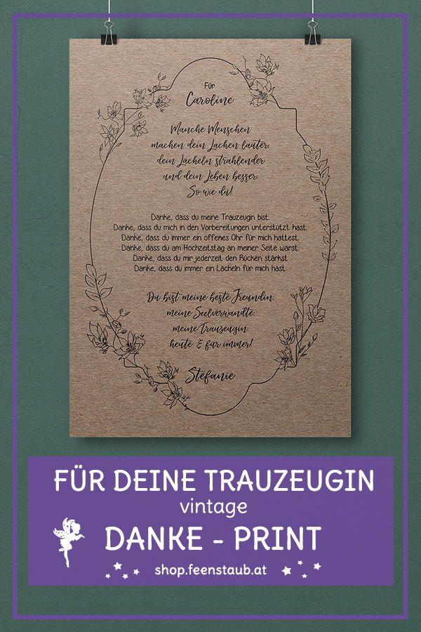 Tauzeugin Danke Print Mit Spruch Beste Freundin Feenstaub At Shop Trauzeugin Hochzeit Vorbereitung Hochzeit