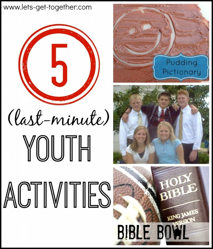 5 Last Minute Youth Activities from Let's Get Together- 5 YM/YW activities that are super simple and ready to go when your plans fall through. Bible Bowl, Pudding Pictionary, P Night, Service Stations, and Elderly Interviews. www.lets-get-together.com #lds #youngwomen #youth