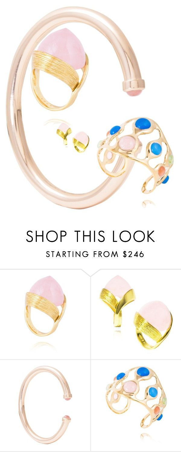 """MateoBrown Rose Quartz"" by mateobrown-jewellery on Polyvore"