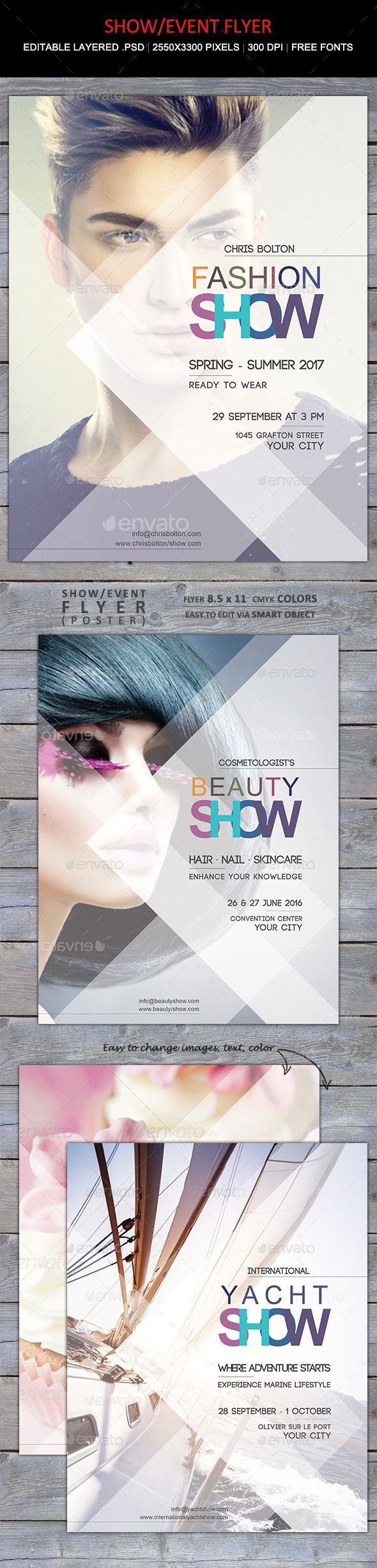Trendy flyer – perfect for promoting: fashion show, designer event, jewelry, hair and beauty, or really any other event or show.