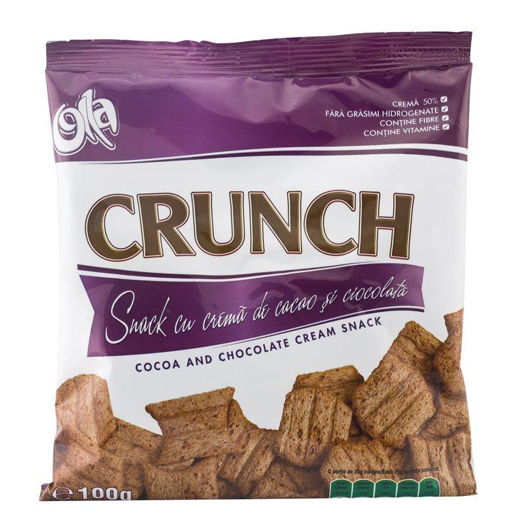Snack cu crema de cacao si ciocolata Crunch 100g Olla