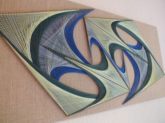 Wall art installation, handmade wall hanging - I remember doing this as a kid…not as elaborate of course.