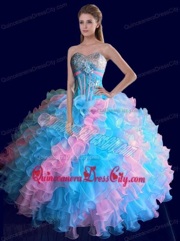 Sweetheart Ruffles Colorful Beading and Sequins Sweet 15 Dress - http://m.quinceaneradresscity.com