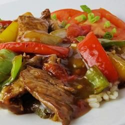 Easy Pepper Steak Allrecipes.com  This recipe is great ! and very easy !