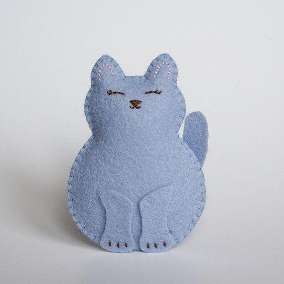 Little Cornflower Blue Wool Felt Cat Softie  by littlegreymittens,